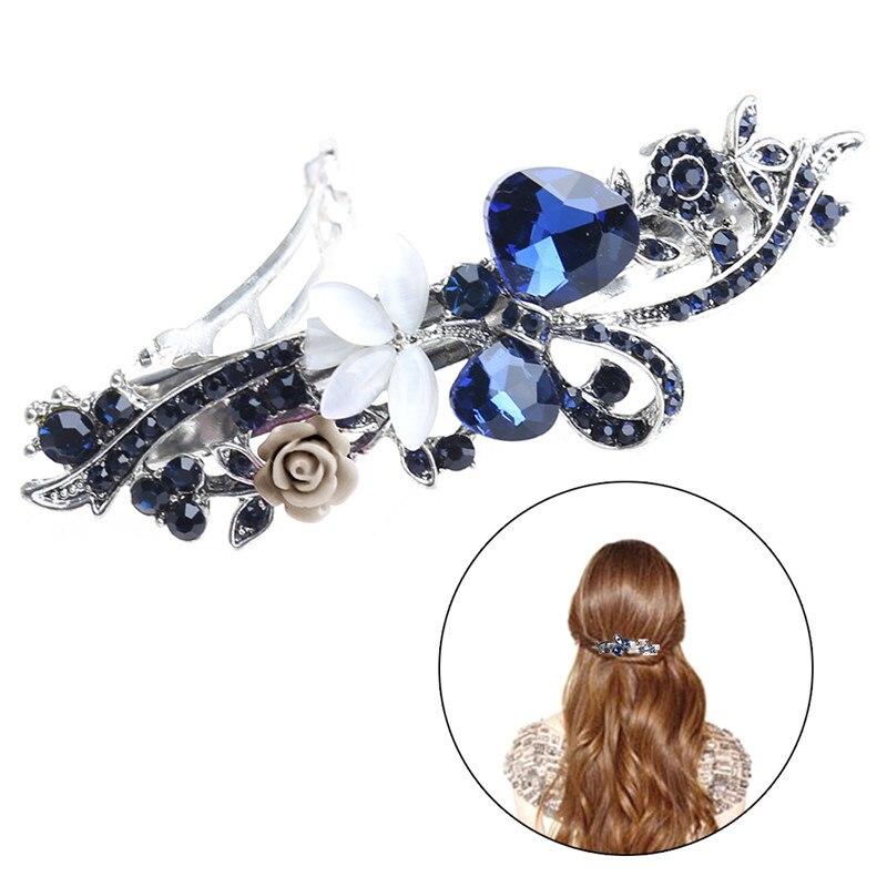 Women Girl Beautiful Hair Clip Rhinestone Elastic Elegant Hair Accessories