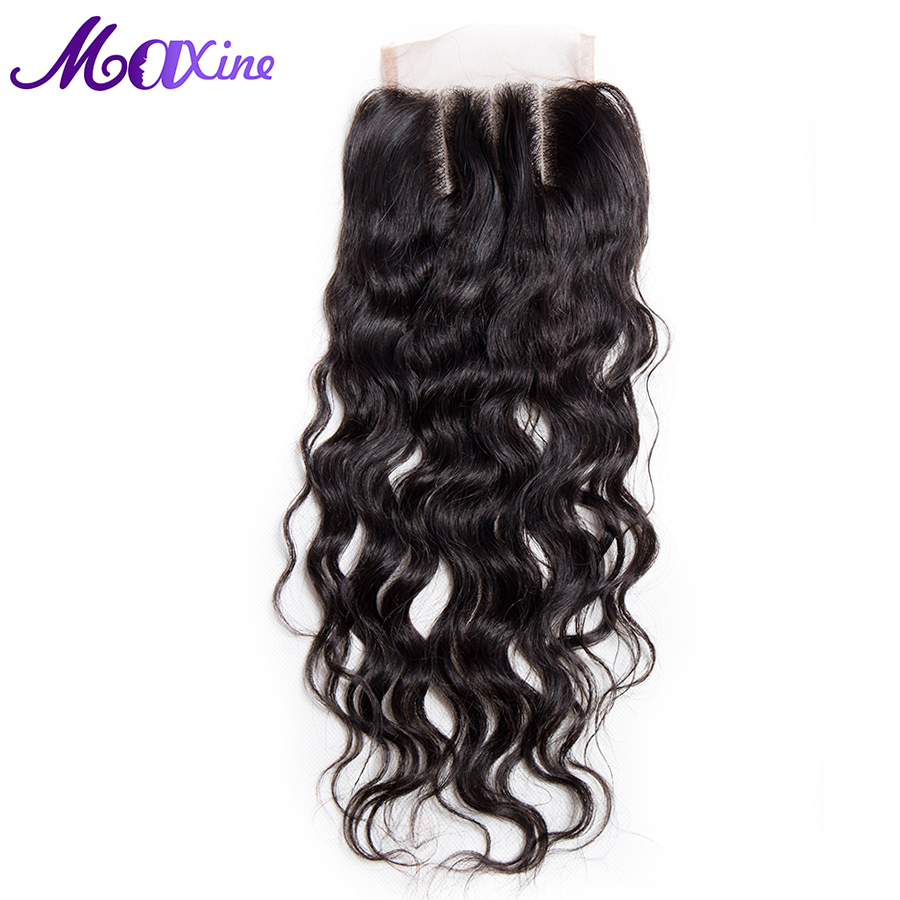 Maxine Hair Company 100 Remy Human Hair Water Wave Lace Closure Three Part Style 130 Density