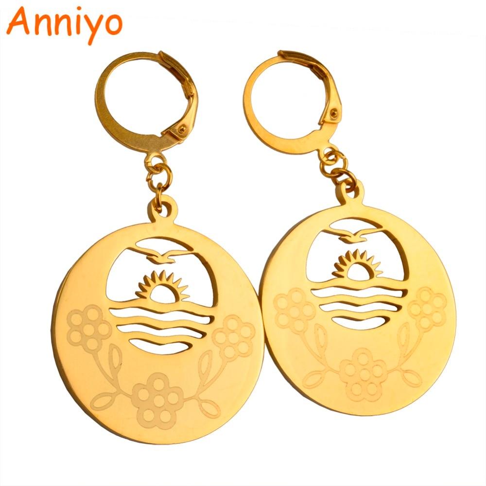 Anniyo (4 Model) Gold Color Earrings for Women/Girls Jewelry kiribati Gift #025521
