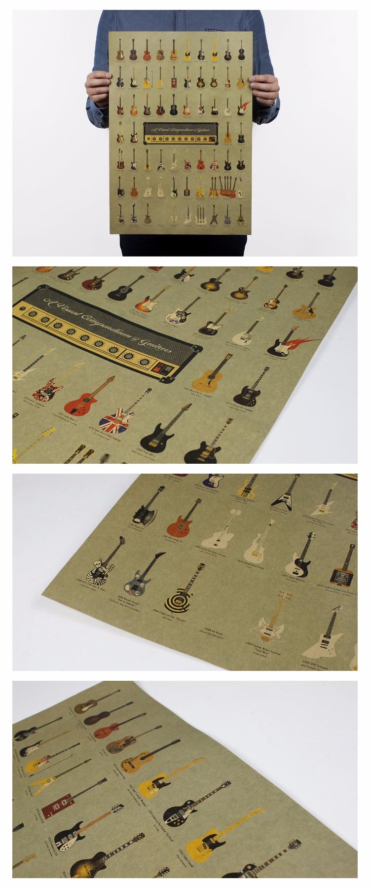 vintage guitar paper poster