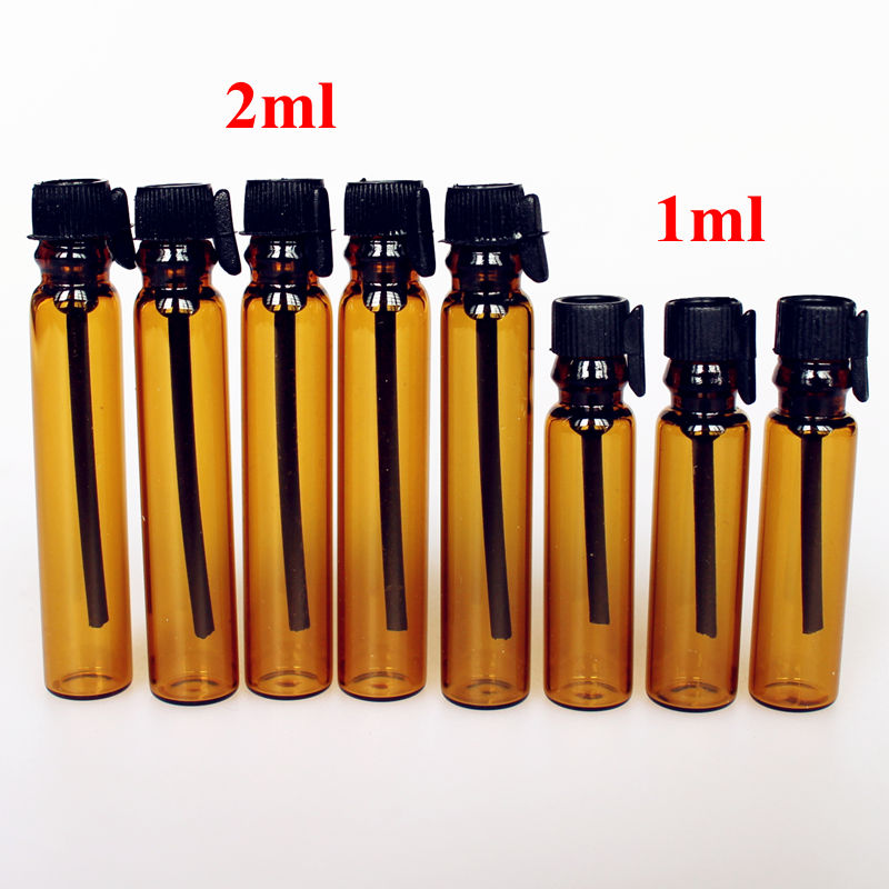 100pcs/lot 1ML 2ML Amber glass perfume bottle empty tube glass bottle 1cc 2cc sample test bottle vials with dropper brown bottle 100 pcs lot of small glass vials with cork tops 1 ml tiny bottles little empty jars