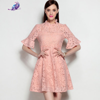 2017 Newest Summer High Quality Runway Dress Women S Elegant Ruffles Stand Collar Half Flare Sleeve