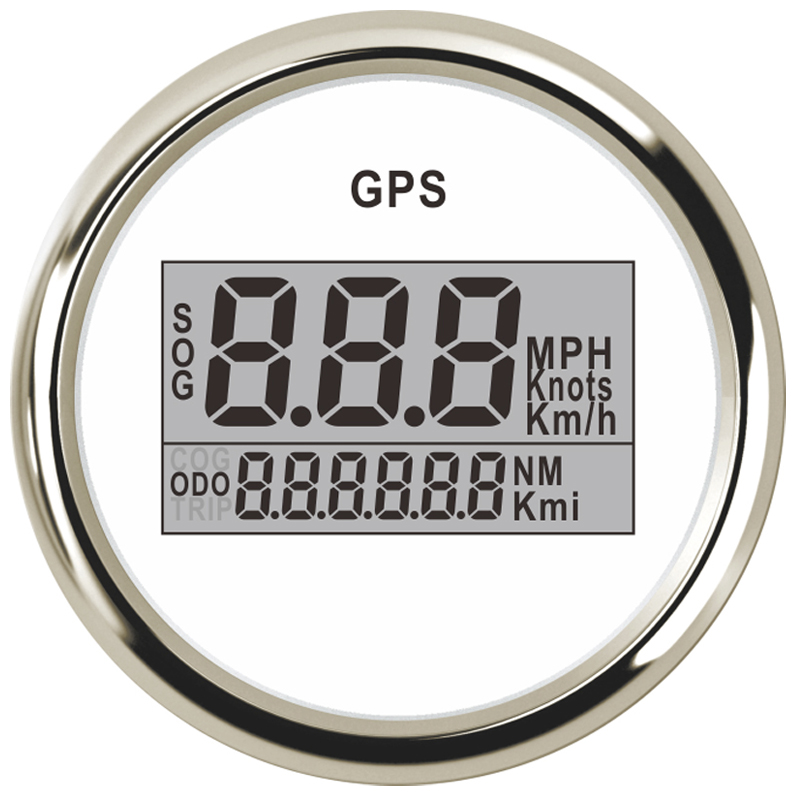 52mm LCD Waterproof Digital GPS Speedometer Odometer For Auto Car Boat With Backlight 2'' (52mm) 12V 24V 999 knots kmp kmh 100% brand new gps speedometer 60knots for auto boat with gps antenna white color