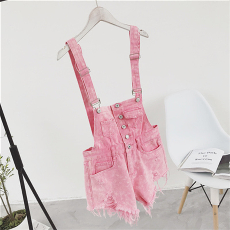 The new college wind denim strap shorts female summer hole loose Korean students was thin sling tide (8)