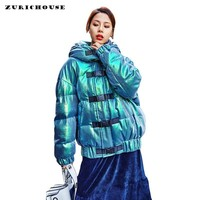 ZURICHOUSE Laser Winter Jacket Women Hooded Down Padded Parka Female Street Style Bright Metal Green Outwear Winter Coats
