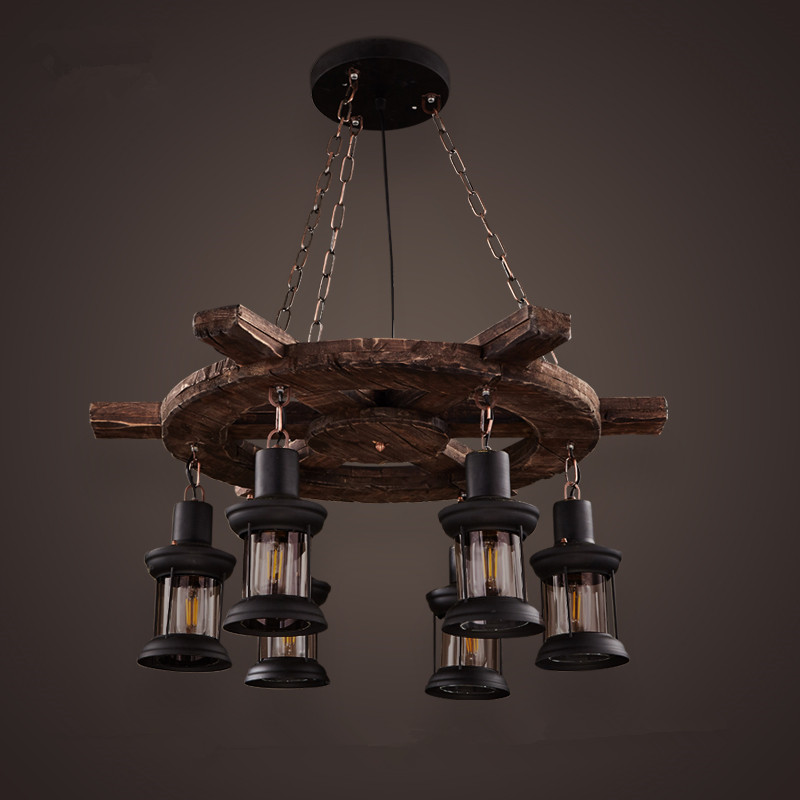 2017 new loft wooden decorative chandelier  American village creative retro industrial wind personality restaurant bar цена 2017