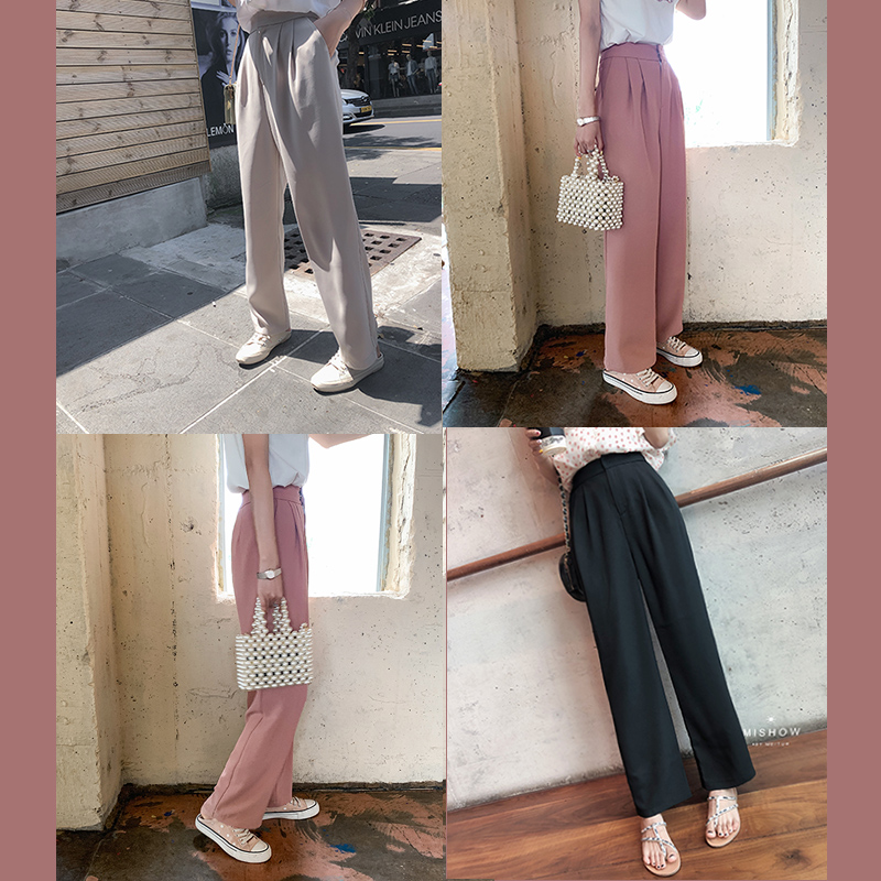 MISHOW  Long Pants Female Loose Elegant OL Work Trousers Women High Waist Wide Leg Pants Cssual Solid Lady Pants MX19B2587