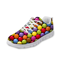 NOISYDESIGNS Casual Shoes Women 3D Candy Color Printed Autumn flat Breathable Comfortable Flat for Ladies Zapatos