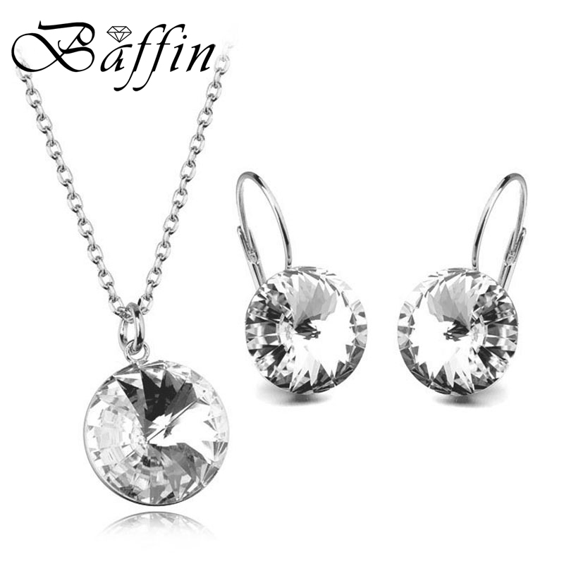 BAFFIN Original Crystals From Swarovski Bella Jewelry Sets Round Pendant Necklaces Piercing Earrings Wedding Gift