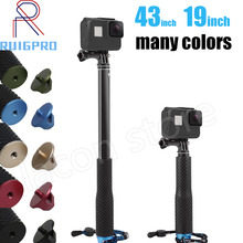 цена на 43inch Aluminum diving Monopod for GoPro Hero 6 5 7 4 Black Silver Session Sjcam Sj7 Yi 4K Action Camera Selfie Stick for Go Pro
