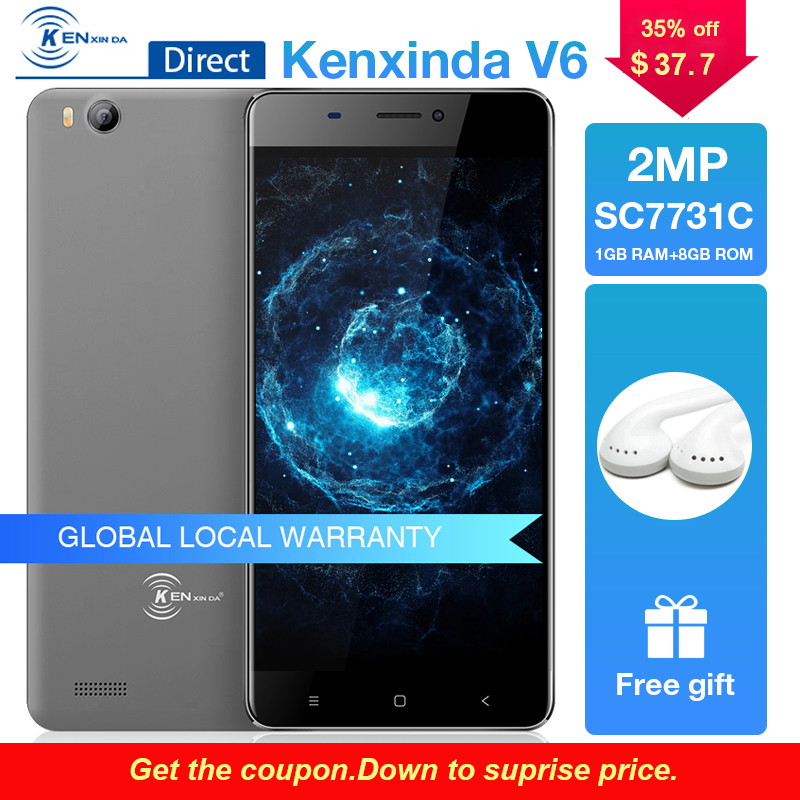 Barato Celular Kenxinda V6 Android 7,0 Original Smartphones 1G RAM + 8G ROM teléfono móvil 3G WCDMA 2.0MP Cámara 4,5