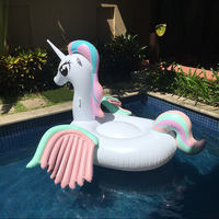 260CM Giant Colorful Unicorn Pool Float Inflatable Colored Pegasus Float Air Mattress Ride on Swimming Ring Party Fun Water Toys