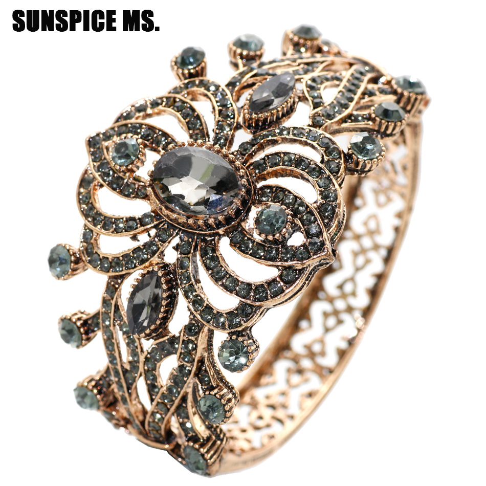 SUNSPICEMS Bohemia Ethnic Vintage Bangle Cuff Antique Gold Color Gray Stone Bracelet Turkish Brand Design Bridal Wedding Jewelry bangle