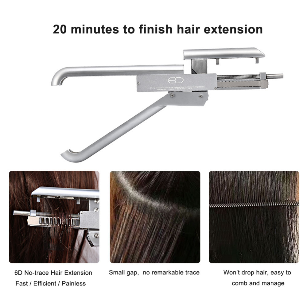 DHL High-end Professional 6D No-trace Hair Extension Machine High quality Natural Real Hair Wig Connector Tool Keratin Hair graceful short side bang fluffy natural wavy capless human hair wig for women