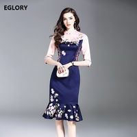 New Brand Chinese Style Dress Spring Summer 2018 Women Sweet Floral Embroidery Pink Blue Color Patchwork