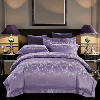YeeKin 100% Cotton Jacquard Satin Hotel Bedding Sets King Queen Luxury Satin jacquard 60s Cotton Purple Color Duvet Cover