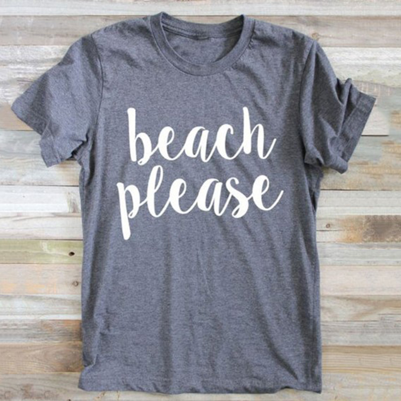 Momoluna Women Men Summer Tops Beach Please Letters Print -3532