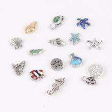 100 Uds recién llegado océano abalorios de concha estrella de mar pez tortuga Concha sirena abalorios flotantes para medallón de cristal