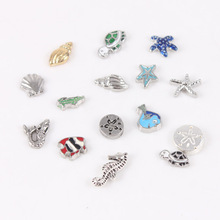 100pcs New Arrive Ocean Charms Shell Starfish Fish Turtle Conch Mermaid Floating Charms For Glass Locket