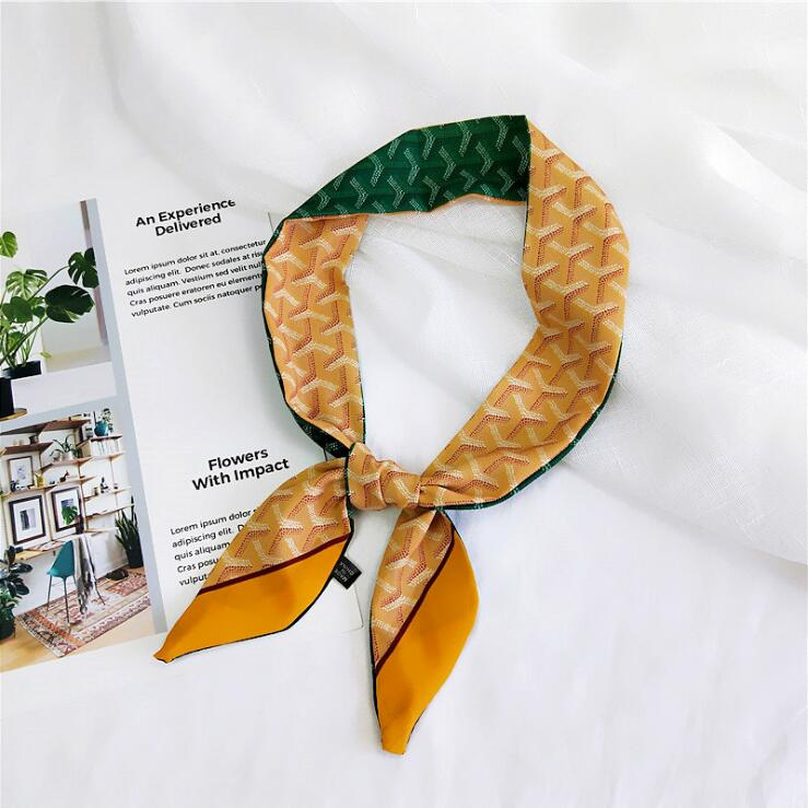Brown Ribbon Bag Scarf Women Kerchief Plaid Stripe Print Scarf Female Fashion Two-sided Handle Headband Skinny Scarves For Women