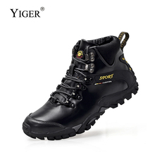 YIGER New Winter Men Snow Boots Sports shoes High-top cotton Mens hiking thick-soled non-slip outdoor  0242