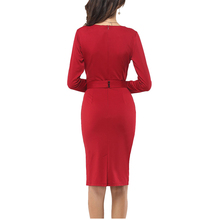 2016 Designer Women Slim Tunic Work Party Business Bodycon Sheath Pencil Dress Bow Decoration Draped Tropical Vestido Bowknot