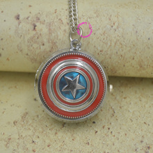 Captain America Icon Quartz Pocket Watch Pendant Necklace Fob Watches Chain Males Girls Woman Woman Reward Silver Enamel Antibrittle