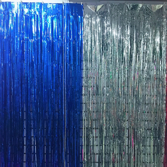 Christmas Rain Curtains Scene Props Photo Golden Blue Silver Wedding Birthday Party Wall Decoration Supplies