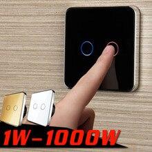 Jiubei painel interruptor de vidro cristal branco, interruptor de toque, padrão da ue, 2 gang 1 way switch, interruptor toque, C702 11/12/13