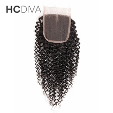 HCDIVA Lace Closure Kinky Curly Weave Malaysian Human Hair Middle Part Closure Medium Brown Swiss Lace 8″ 10″ 12″ 14″ 16″ 18″