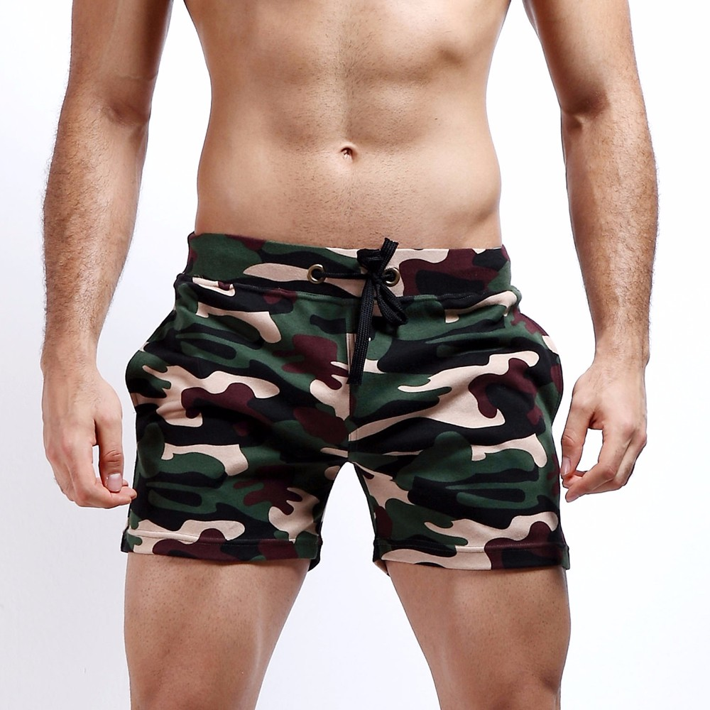 New Fashion Cotton Men\'s Jogger Short Leisure Workout Short With Pocket Casual Camouflage Elastic Waist Home Lounge Shorts PF73 (1)