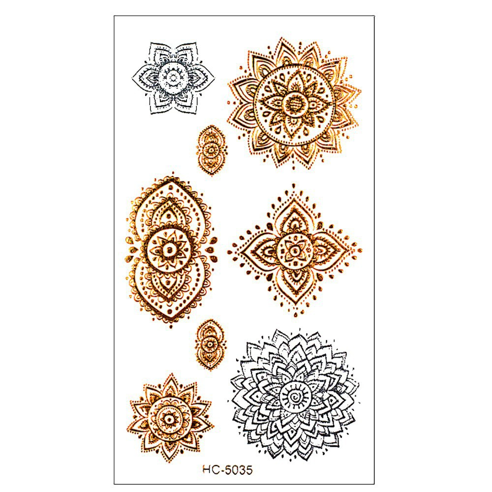 golden tatto body art metallic temporary tattoo jewelry bracelet flash tattoo 1