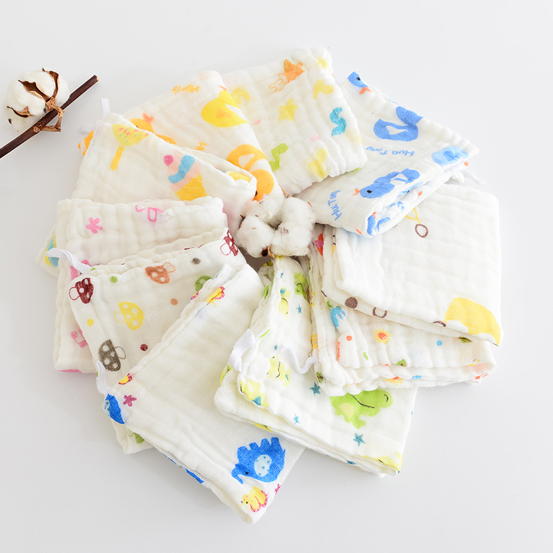 1PC baby handkerchief square fruit Cartoon pattern towel 28x28cm 6-layer Washed muslin cotton infant face towel wipe cloth
