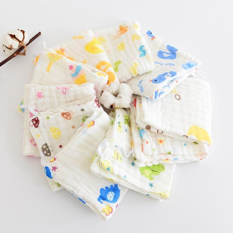 1 Stück Baby Taschentuch Platz Obst Cartoon-muster Handtuch 28x28 Cm 6-schicht Gewaschen Musselin Baumwolle Infant Gesicht Handtuch Wischen Tuch