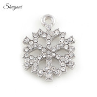 20PCS Alloy Silver Gold Clear Crystal Snowflake Charms Pendant fit Necklace Bracelet Jewelry Christmas Gifts 19*15mm
