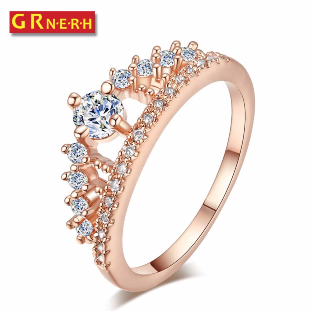 GR NERH Wedding Band Jewelry Love Engagement Ring For Women White Princess Crown CZ Simulated