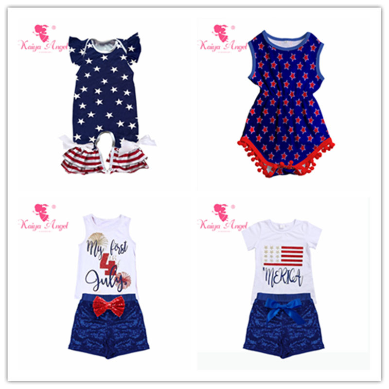 a4a36f8a841b Kaiya Angel 4th Of July Bodysuit Summer Baby Girl Boy Clothes Red Blue Bow White  Stars Clothes Spring Autumn clothing Wholesale-in Rompers from Mother ...