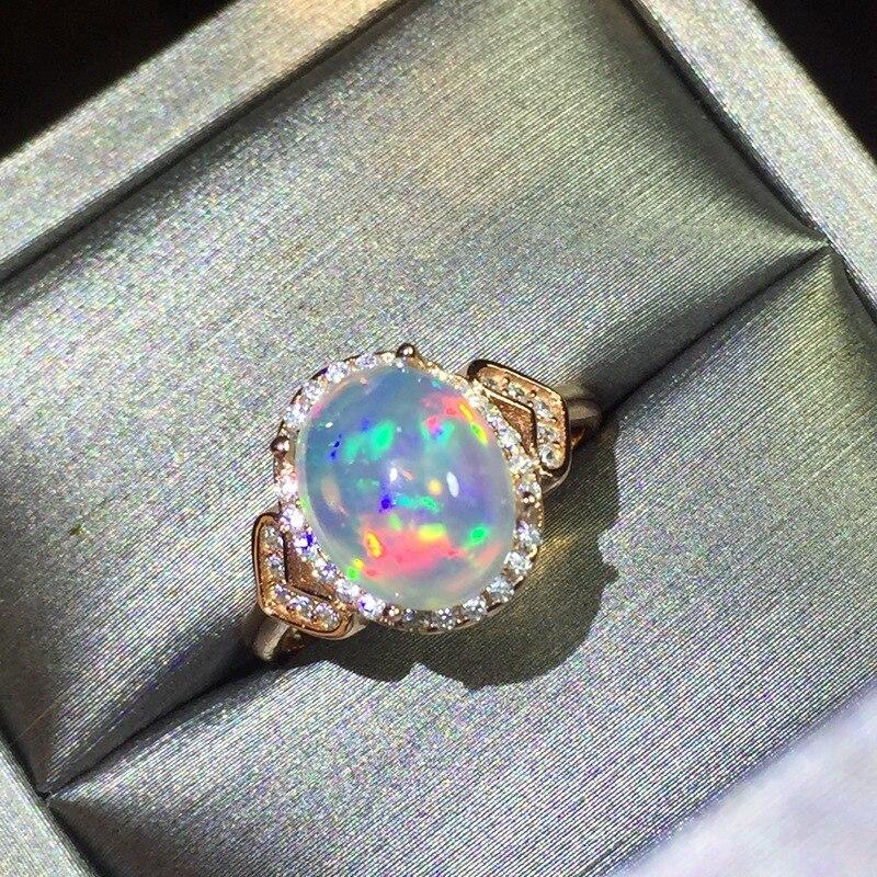 100% naturel opale anneaux en réel 925 solide streling argent bijoux pour dame bague de fiançailles mode opale argent bague pour vous