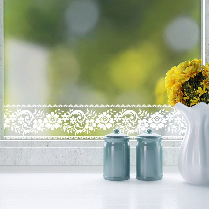10cm*10m Lace Flower Wall Sticker Bedroom Decor PVC Window Wall Poster Waterproof Sticker Mural Mirror Tape Wallpaper Pegatinas image