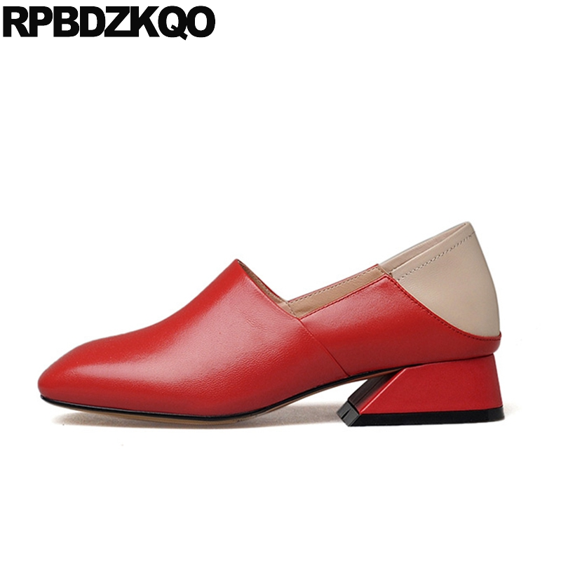 Sheepskin Shoes Women Medium Square Toe Genuine Leather Size 33 Thick Red Sexy Ladies 4 34 2017 Low Unique China Spring Autumn fashion pumps elegant metal size 4 34 women medium square toe female chunky wine red patent leather shoes new 33 modern china