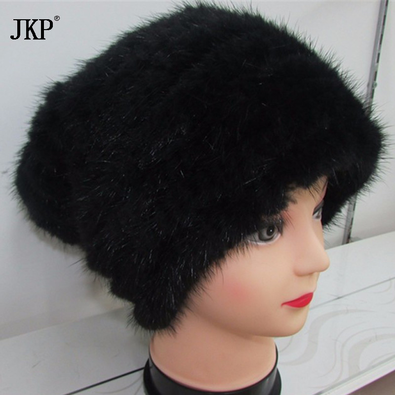 JKP Genuine Knitted Mink Fur Beanies Hats Fashion Womens Mink Fur Knitted Caps Winter Headgear