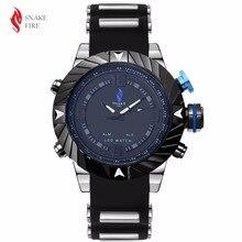 Nueva Marca Serpiente de Fuego Reloj Hombres Deportes Relojes del Silicón de La Manera LLEVÓ el Reloj Digital Para Hombre Reloj digital de reloj montre homme