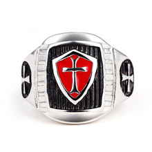 New Stainless Steel Titanium Red Armor Shield Knight Templar Crusade Cross Signet Ring Medieval Signet Retro Vintage