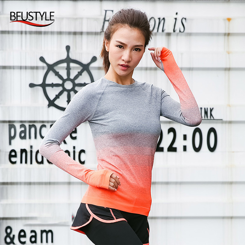 Gym Sports Women Running T-shirt Top Athletic Dry Quick Long Sleeve Fitness Clothes Yoga Solid Patchwork Tees Shirt