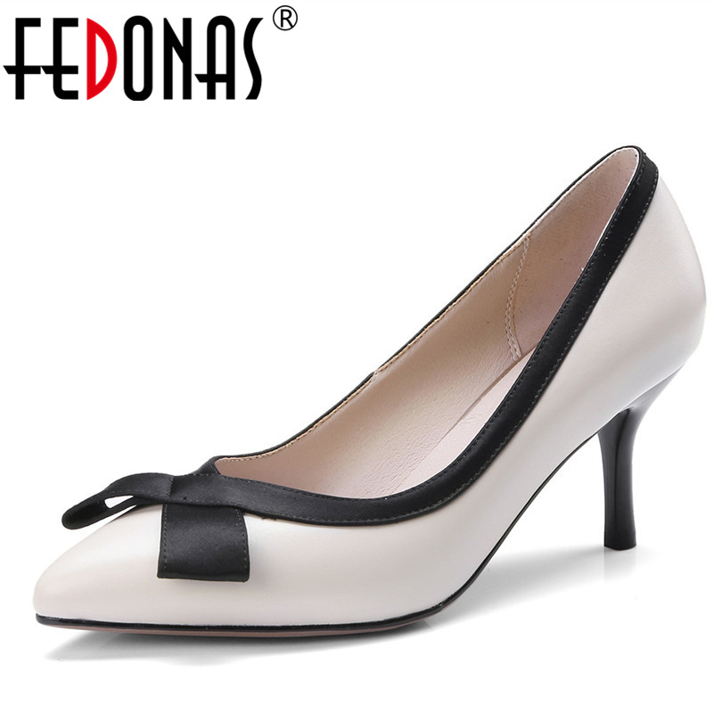 FEDONAS Women Pumps Genuine Leather High Heel Fashion Dress Shoes Woman Stilettos Pointed Toe Spring Summer Wedding Shoes Woman 2017 new sexy pointed toe high heel women pumps genuine leather spring summer shoes woman fashion dress party casual shoes pumps