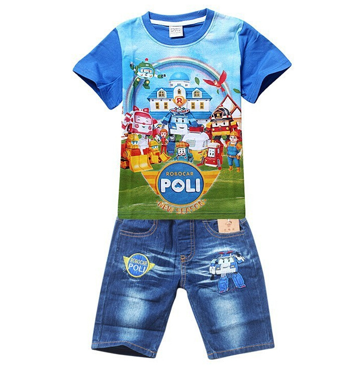 New POLI ROBOCAR Boys Clothing Set Cartoon Cotton Shirt + Jeans 2 Pieces Suit Summer Kids Clothes Sets Baby Children's Clothing 4pcs set hand tap hex shank hss screw spiral point thread metric plug drill bits m3 m4 m5 m6 hand tools