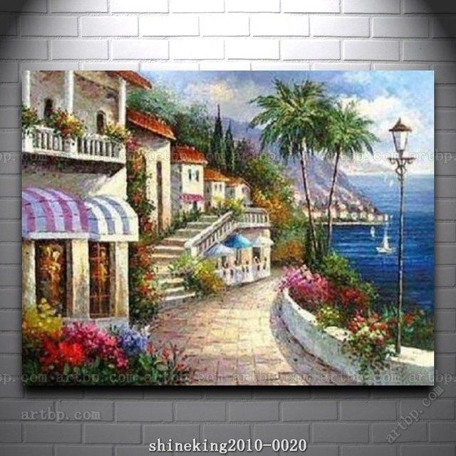 Impressionist Landscape oil painting Med Sea art canvas ...
