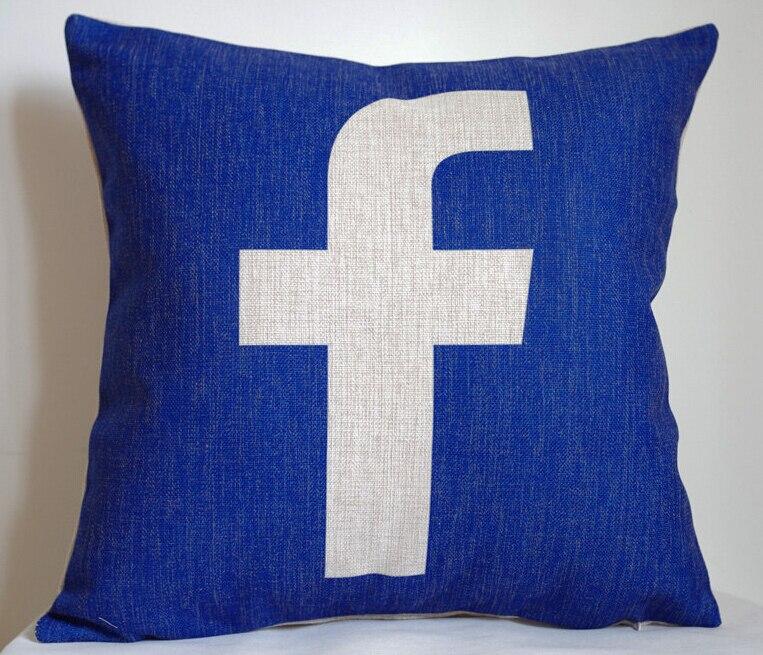 facebook pillow cover creative social media logo facebook throw pillow case pillowcase. Black Bedroom Furniture Sets. Home Design Ideas