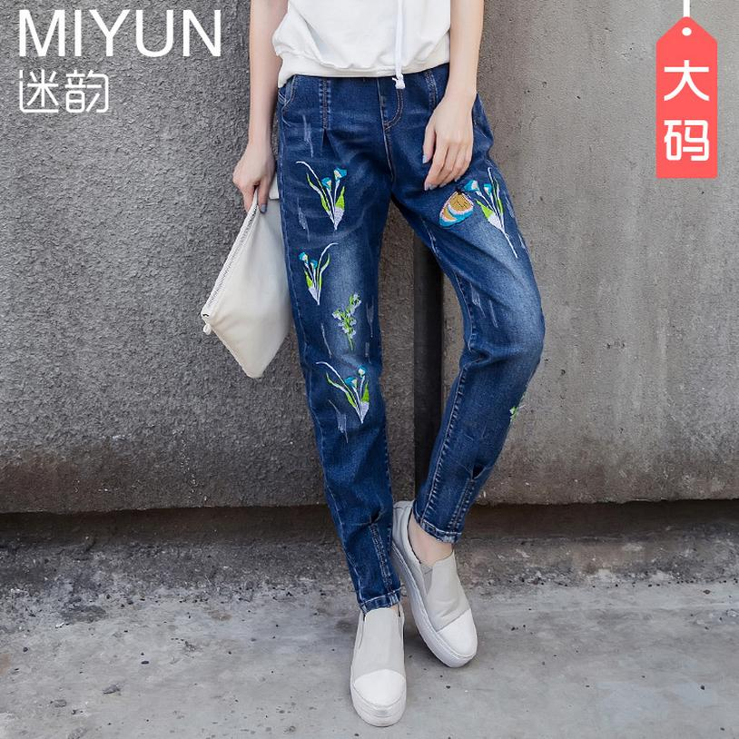 7XL Big size cotton jeans 2017 winter women s Korean version new was thin embroidered elastic