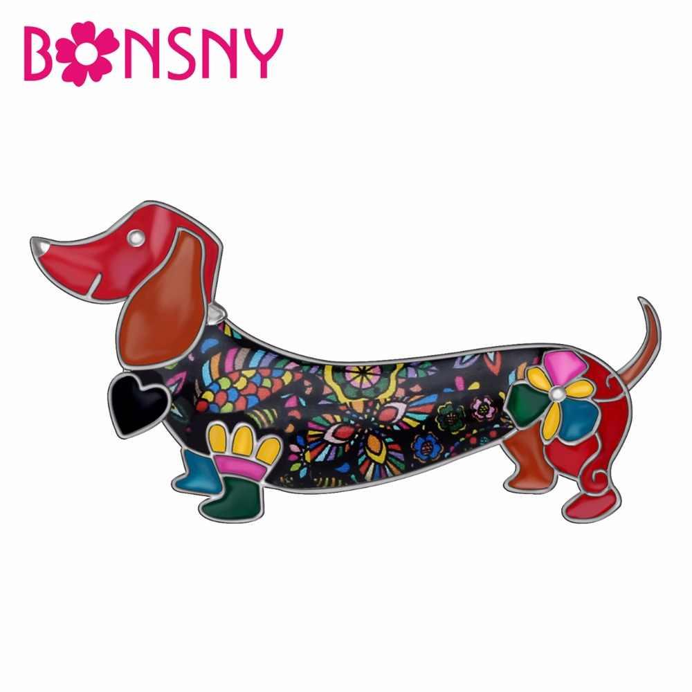Bonsny alliage émail sourire teckel chien broches vêtements écharpe broche mode Animal de compagnie bijoux pour femmes filles cadeau accessoires
